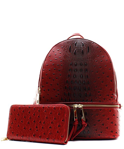 Red Fashion Faux Ostrich Backpack + Wallet *Zip Around Closure