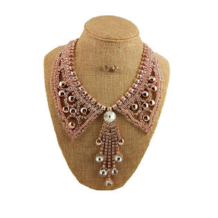 Rhinestone Gold Crystal Bead Collar Necklace