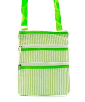 Lime Seersucker Messenger Bag