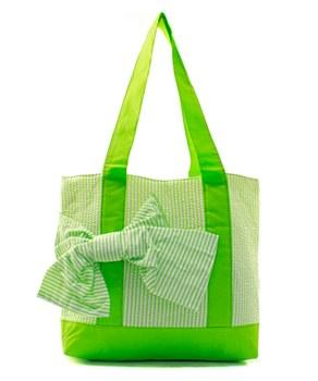 Lime Seersucker Tote with Bow