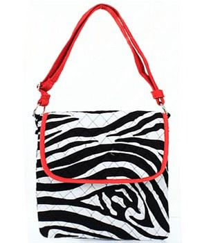 Red Zebra Print Messenger