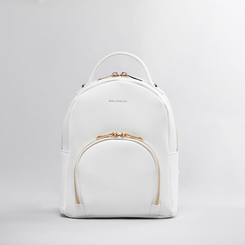 8e39901b8e6 Gigi Leather Backpack - White – Hola Darling