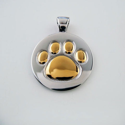 Paw Print Pendant 18K Gold or Sterling