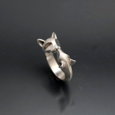 Cat and Mouse Ring in Sterling Silver