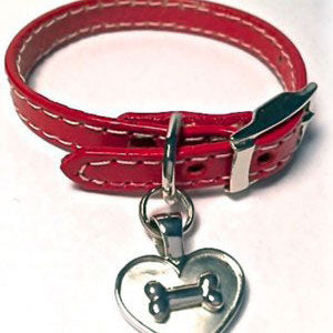 Dog Bone on Heart Charm on Leather Bracelet