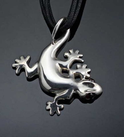 Gecko Pendant Necklace Sterling Silver