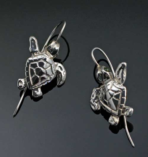 Sterling Silver Loggerhead Turtle Earrings