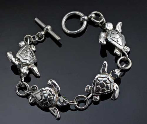 Loggerhead Sea Turtle Bracelet in Sterling Silver