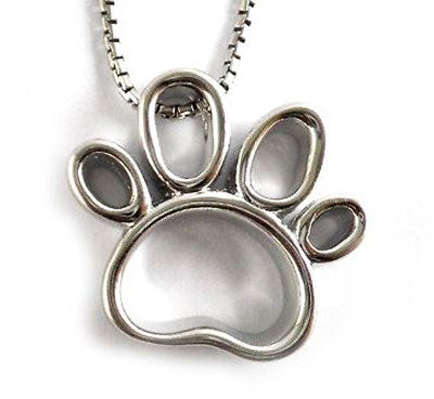 Outline Paw Print Pendant Necklace