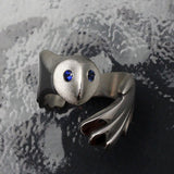 Owl Ring Sterling Silver with Gemstone Eyes