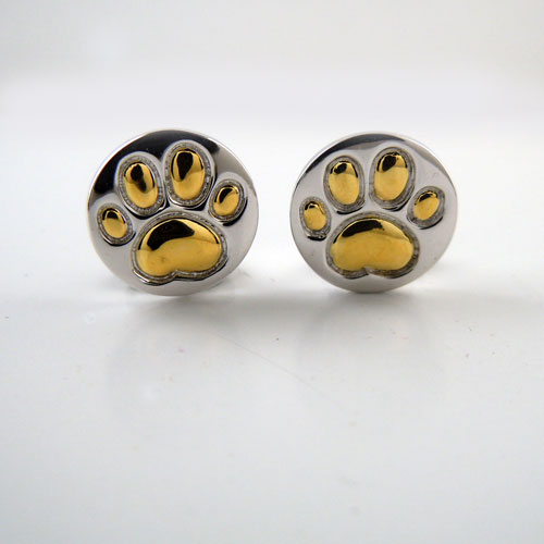 Paw Print Sterling with 18k Gold Earrings
