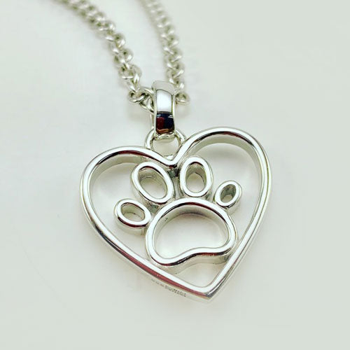 Open Paw Print in Heart Necklace in Sterling Silver