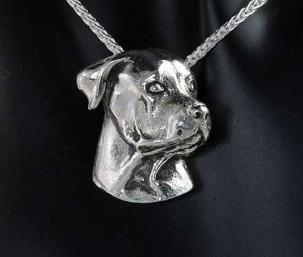 Rottweiler Pendant Necklace in Sterling Silver