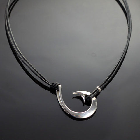 Sideways Circle Fish Hook Necklace