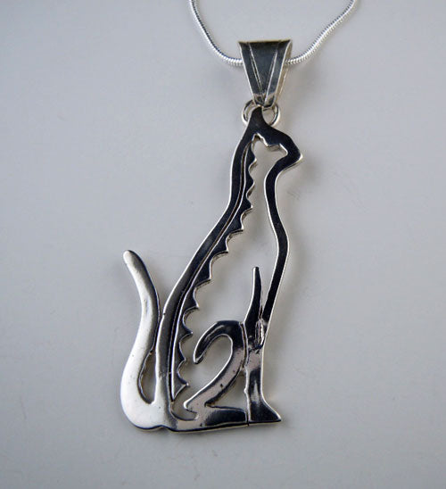 Sitting Cat Pendant Necklace Sterling Silver