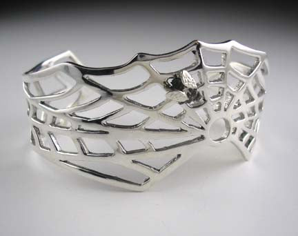 Spiderweb Cuff Bracelet with Fly