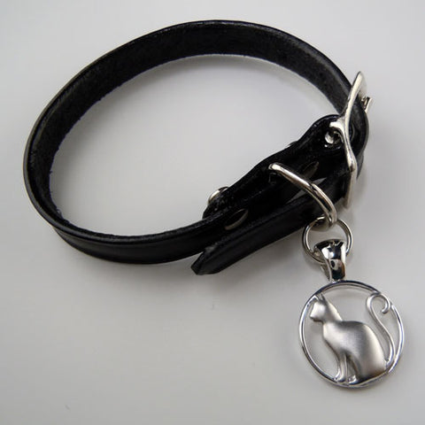 Cat Charm on Leather Bracelet