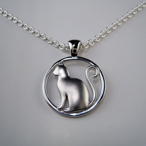 Cat Pendant Necklace in Satin Sterling Silver