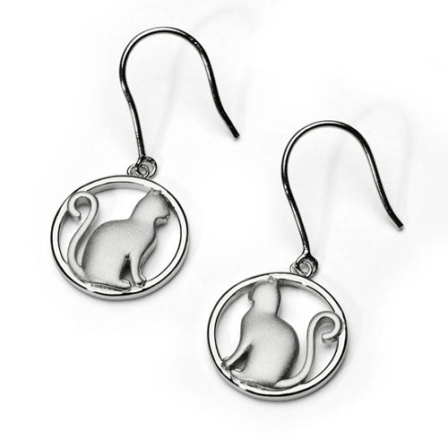 Cat Earrings Sterling Silver
