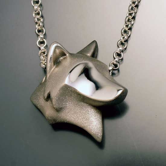 Wolf Head Necklace in Sterling Silver