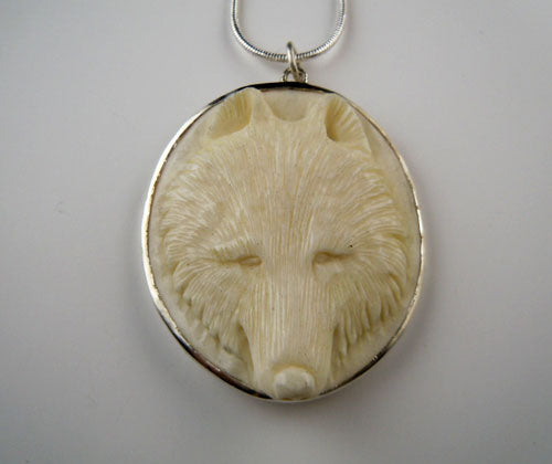 Carved Wolf Head Pendant Necklace