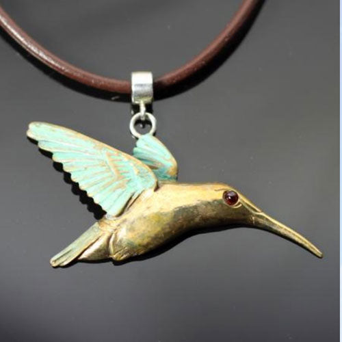 Hummingbird Pendant Necklace in Bronze