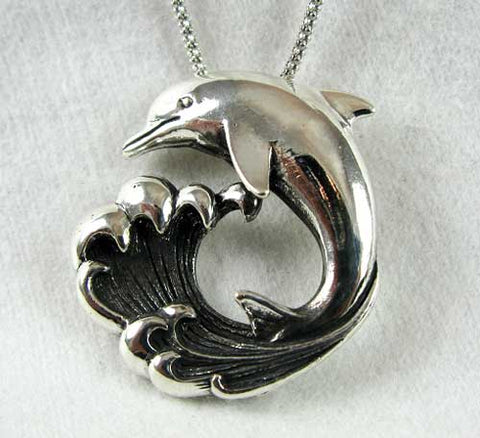 Dolphin and Wave Pendant