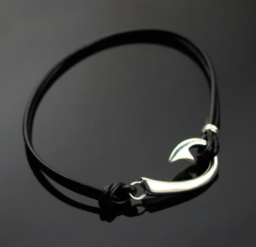 "Classic ""J"" Fish Hook Bracelet with Leather"