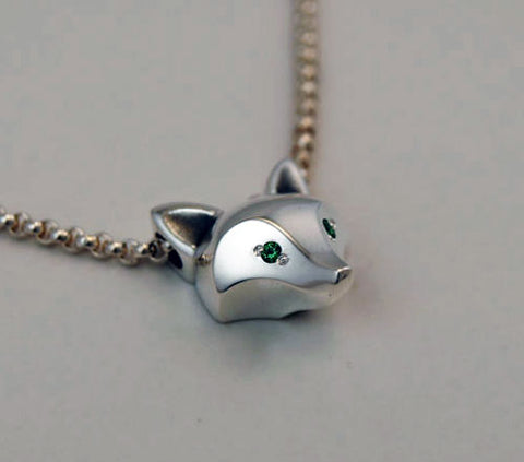 Fox Head Pendant Necklace with Gemstones