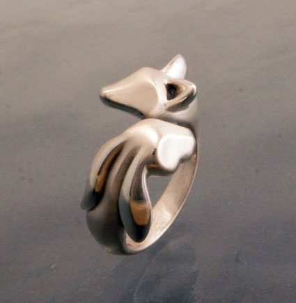 Fox and Bunny Ring in Sterling Silver
