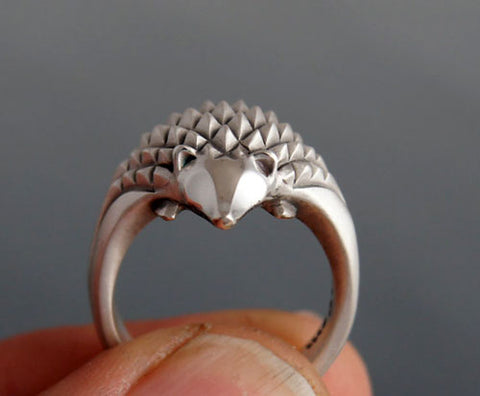 Hedgehog Ring in Sterling Silver