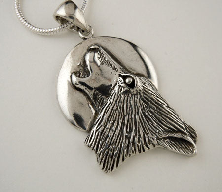 Howling Wolf Pendant Necklace Sterling Silver