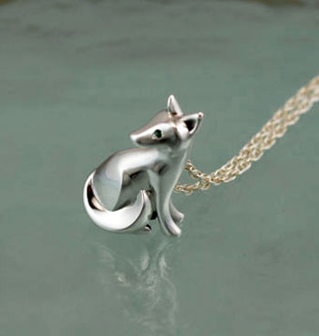 Sitting Kit Fox Pendant with Gemstone Eyes