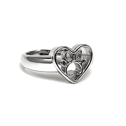 Open Paw Print in Heart Ring Sterling Silver