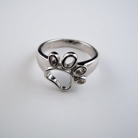 Outline Dog Paw Print Ring