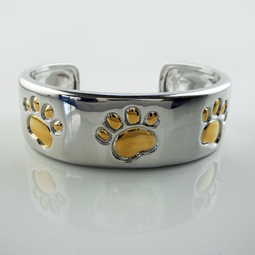 Paw Print Cuff Bracelet Sterling Silver and Gold