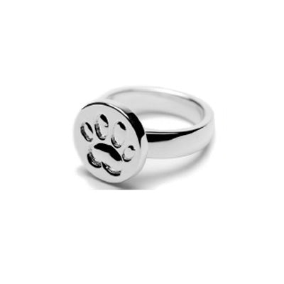 Paw Print Disc Ring Sterling Silver