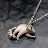 Raccoon Pendant Necklace Sterling Silver