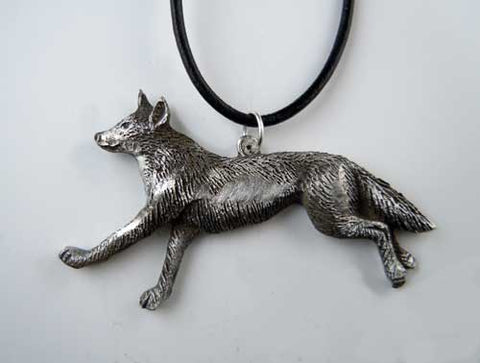 Red Wolf Pendant Necklace in Pewter