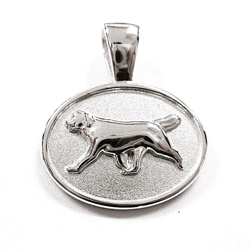 Newfoundland Dog Pendant Necklace in Sterling Silver