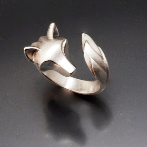 Shaggy Wolf Head Ring in Sterling Silver
