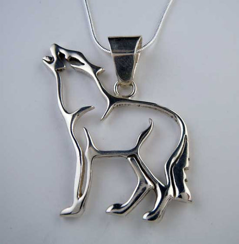 Standing Wolf Pendant Necklace