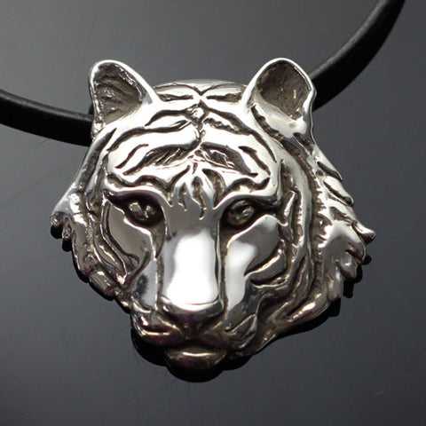 Tiger Pendant Necklace Sterling