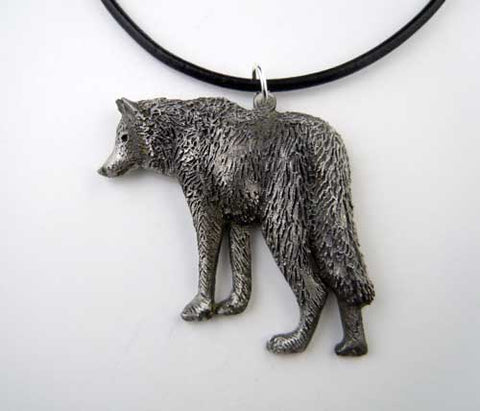 Wolf Pendant Necklace in Pewter