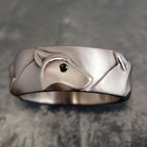 Wolf Head Band Ring with Diamond Eyes