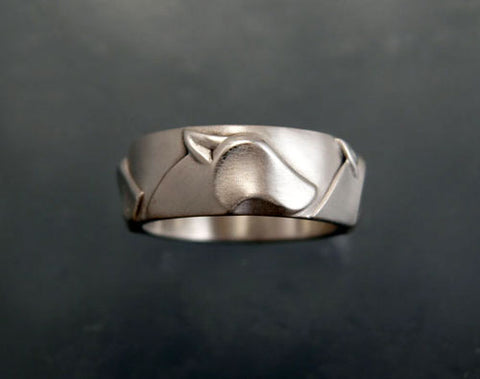 Wolf Head Band Ring in Sterling Silver