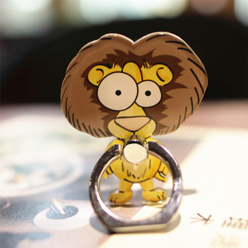 Cell Phone Finger Ring Holder Cute Animal 360 Swivel Smartphone Stand (Lion)