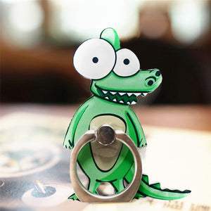Cell Phone Finger Ring Holder Cute Animal 360 Swivel Smartphone Stand (Crocodile)