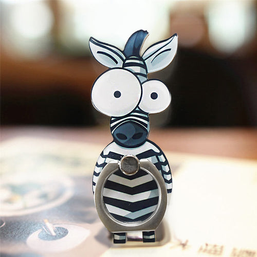 Cell Phone Finger Ring Holder Cute Animal 360 Swivel Smartphone Stand (Zebra)
