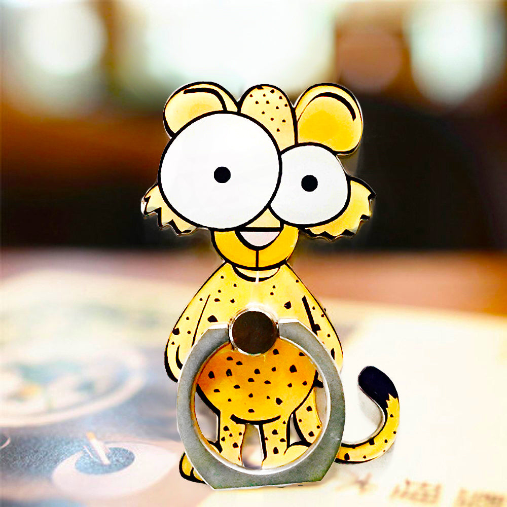 Cell Phone Finger Ring Holder Cute Animal 360 Swivel Smartphone Stand (Leopard)
